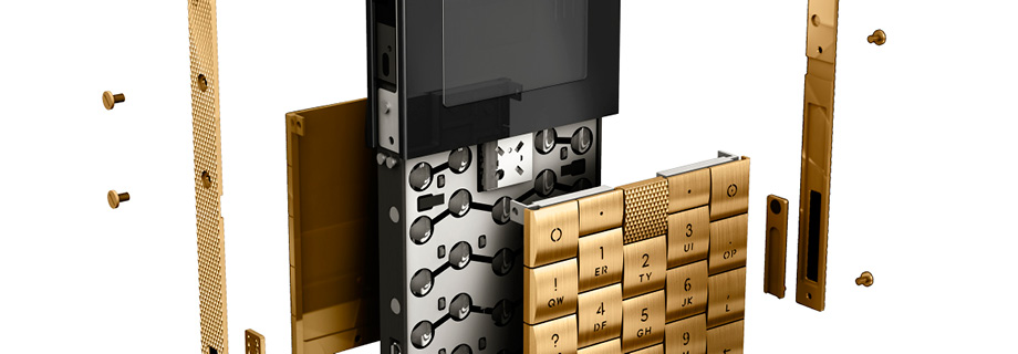 Exploded view of Aesir Gold Mobile Phone