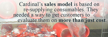 Cardinal's sales model is based on re-supplying consumables. They needed a way to get customers to evaluate them on more than just cost.
