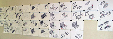 Sketches of the Fellowes binding and laminating machines line