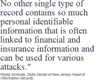 "No other single type of record contains so much personal identifiable information that is often linked to financial and insurance information and can be used for various attacks."" Roota Almeida, Delta Dental of New Jersey Head of Information Security"