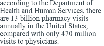 according to the Department of Health and Human Services, there are 13 billion pharmacy visits annually in the United States, compared with only 470 million visits to physicians.