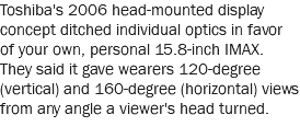 Toshiba's 2006 head-mounted display concept ditched individual optics in favor of your own, personal 15.8-inch IMAX. They said it gave wearers 120-degree (vertical) and 160-degree (horizontal) views from any angle a viewer's head turned.